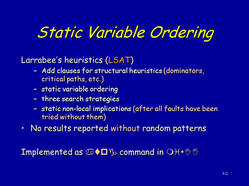 Static Variable Ordering