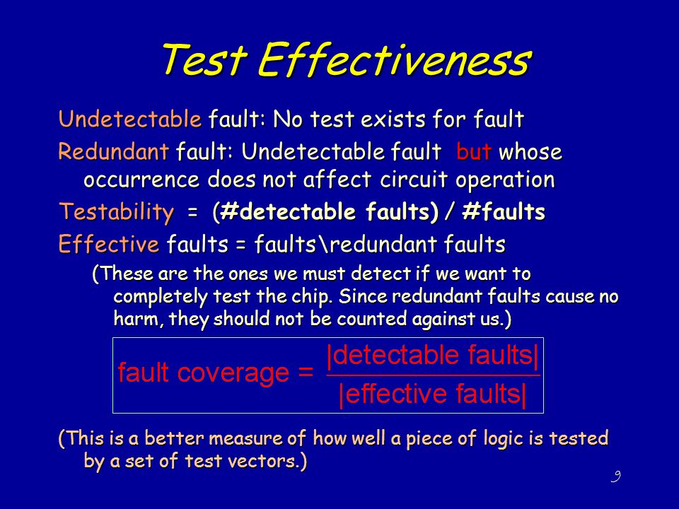 Test Effectiveness Undetectable fault: No test exists for fault