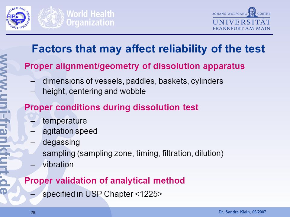 Factors that may affect reliability of the test