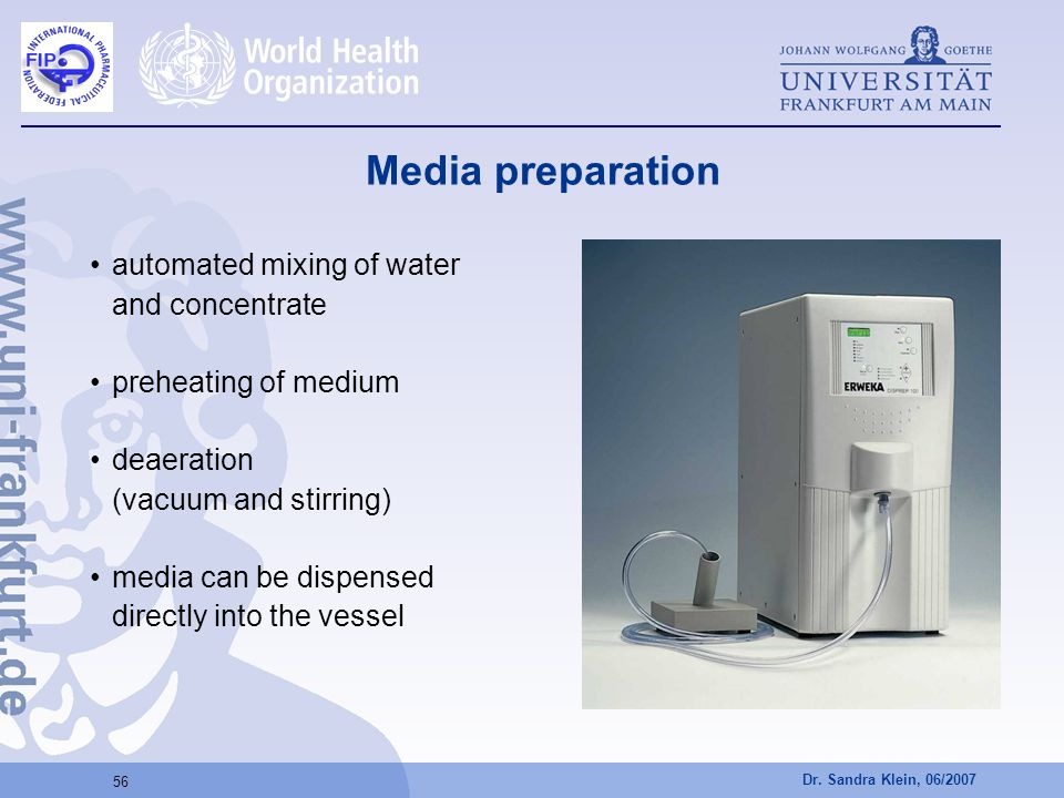 Media preparation automated mixing of water and concentrate