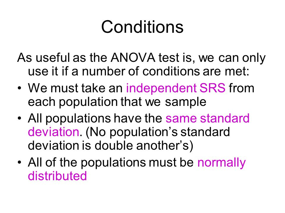 Conditions As useful as the ANOVA test is, we can only use it if a number of conditions are met: