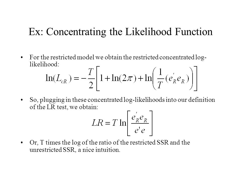 Ex: Concentrating the Likelihood Function