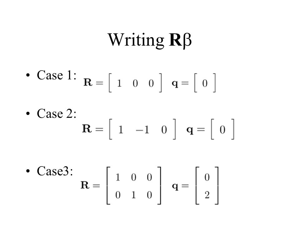Writing R Case 1: Case 2: Case3: