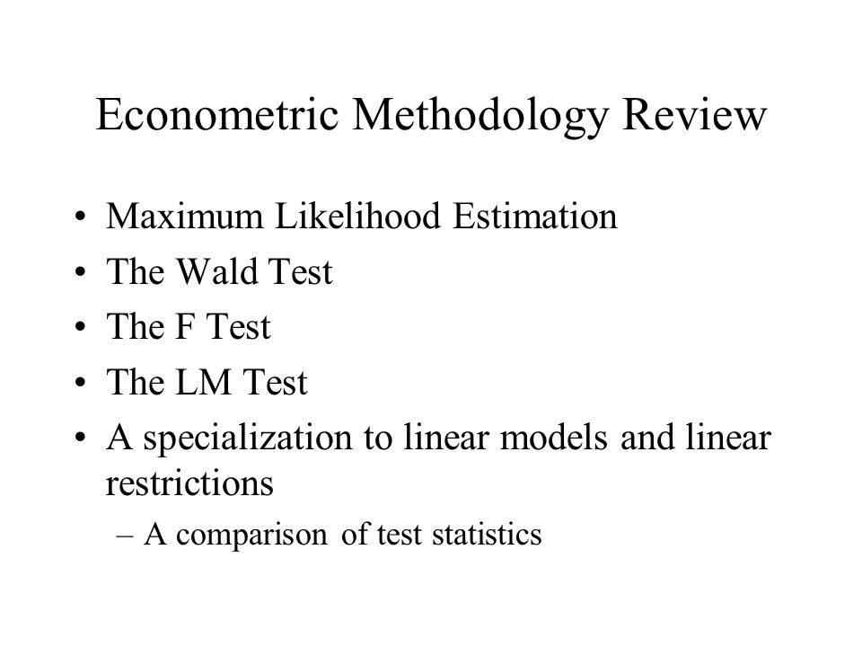 Econometric Methodology Review