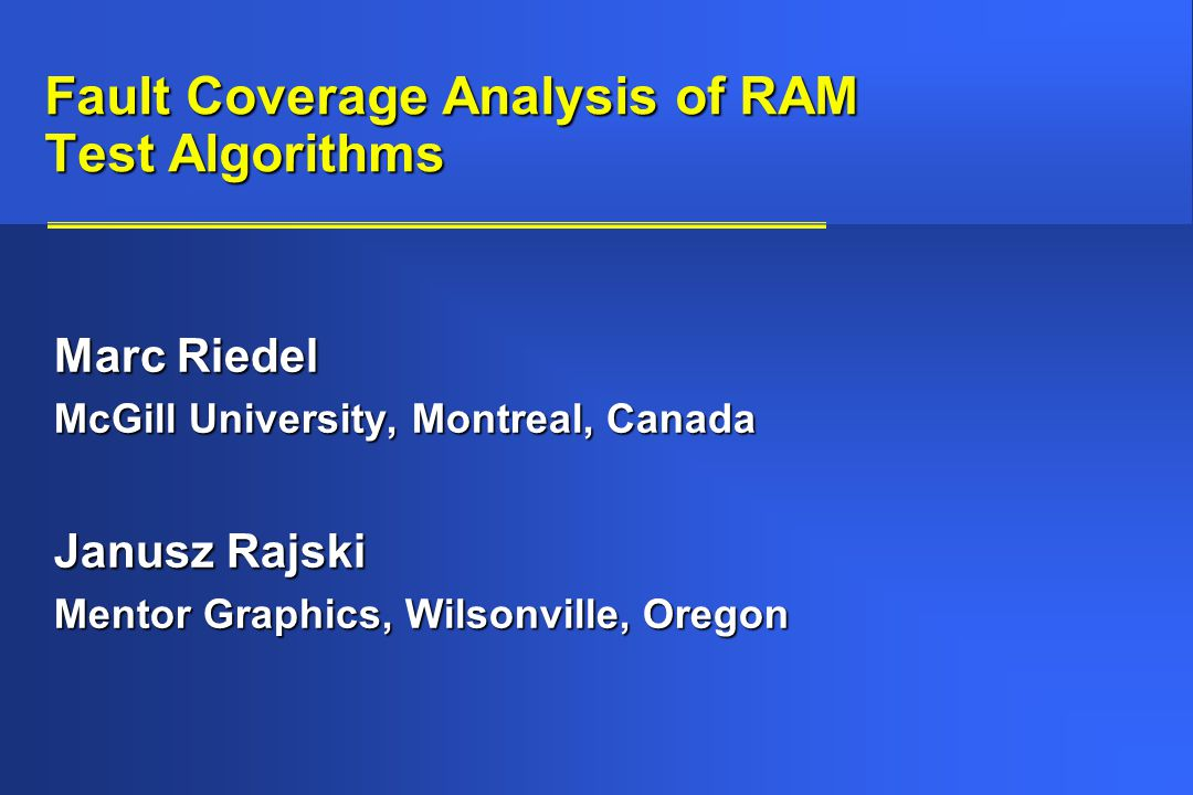 Fault Coverage Analysis of RAM Test Algorithms