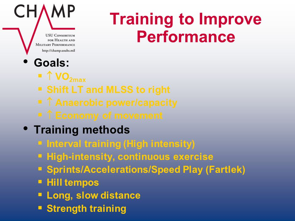 Training to Improve Performance