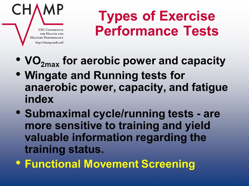 Types of Exercise Performance Tests