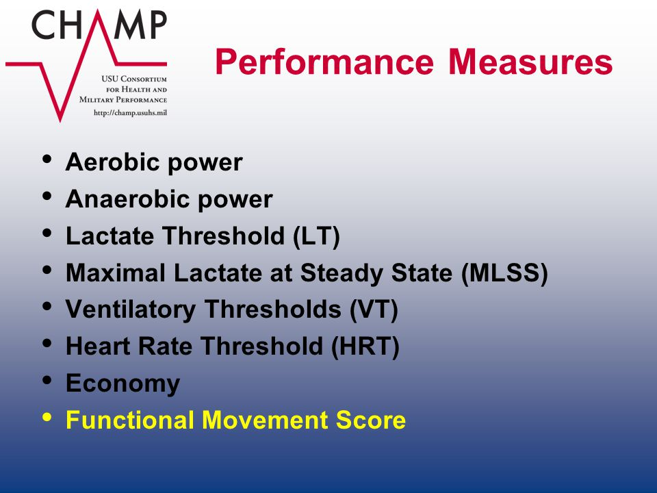 Performance Measures Aerobic power Anaerobic power