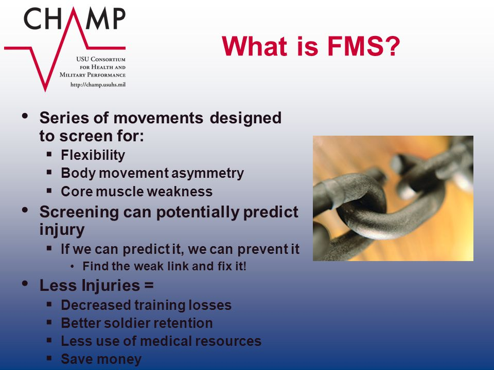 What is FMS Series of movements designed to screen for: