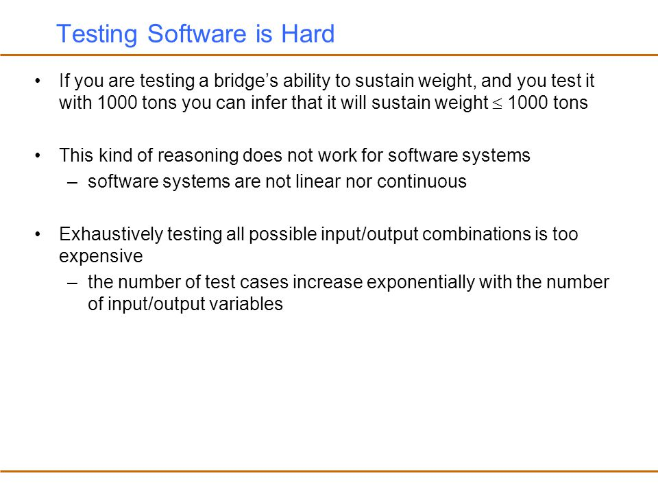 Testing Software is Hard