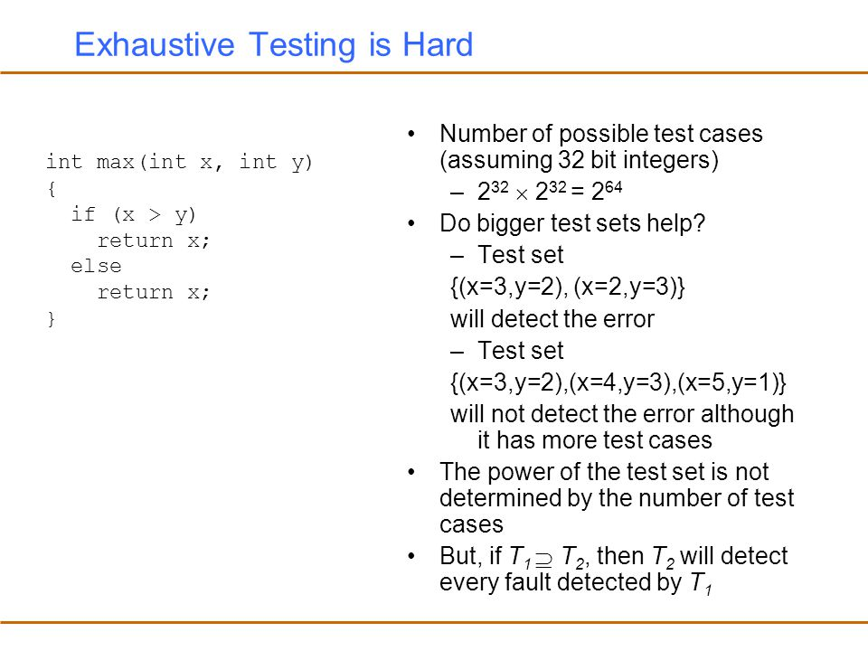 Exhaustive Testing is Hard