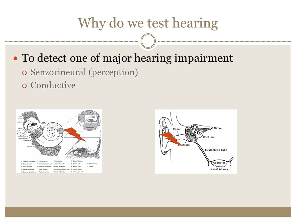 Why do we test hearing To detect one of major hearing impairment