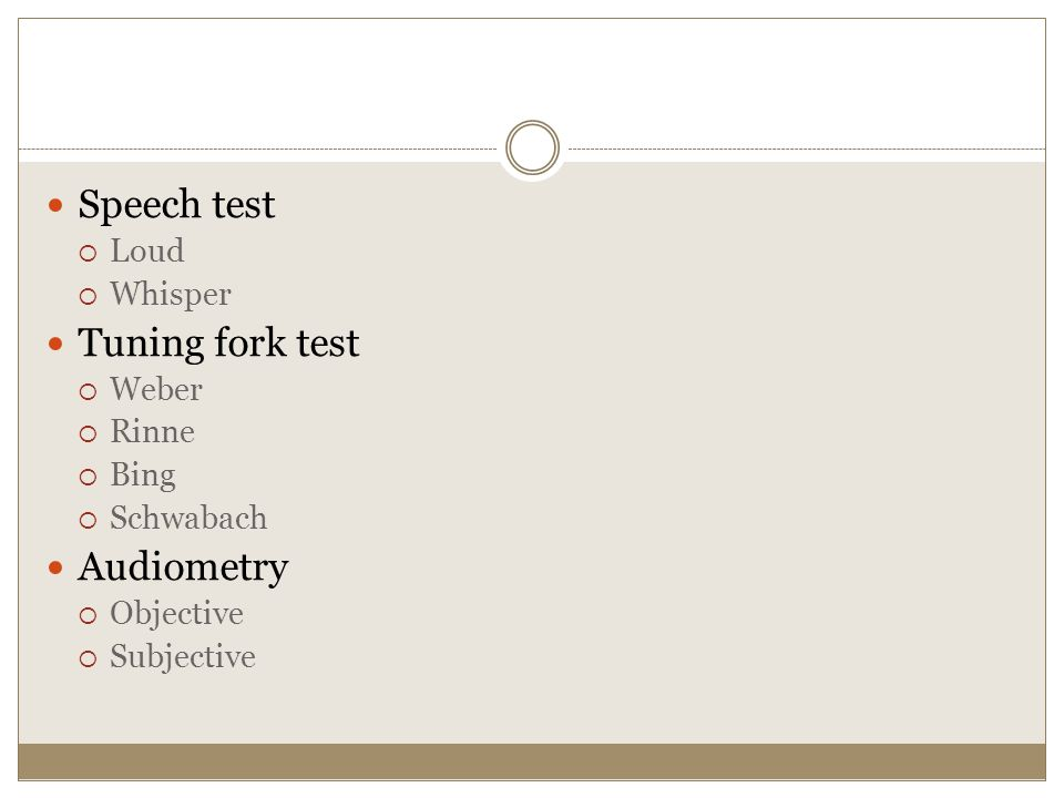 Speech test Tuning fork test Audiometry Loud Whisper Weber Rinne Bing
