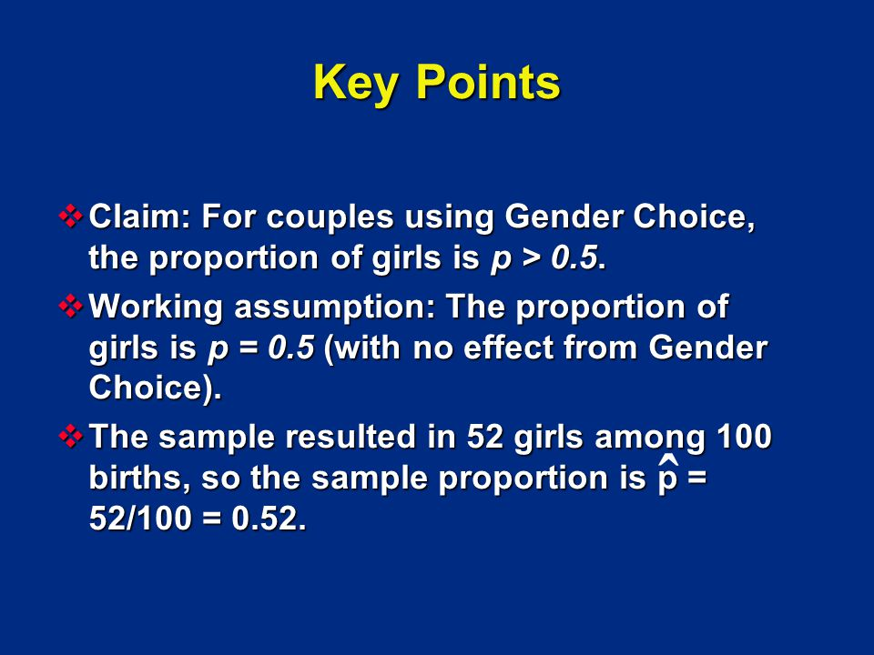 Key Points Claim: For couples using Gender Choice, the proportion of girls is p > 0.5.
