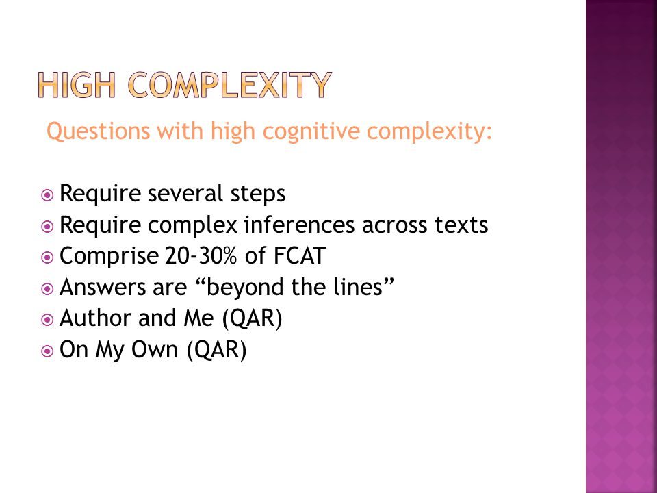 High complexity Questions with high cognitive complexity: