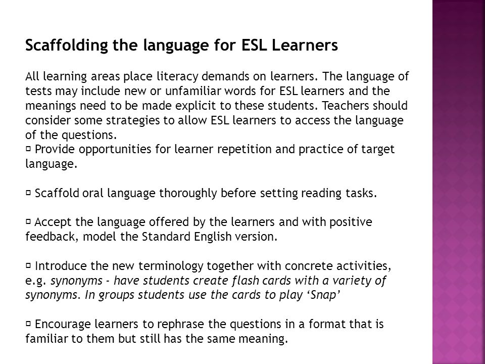 Scaffolding the language for ESL Learners