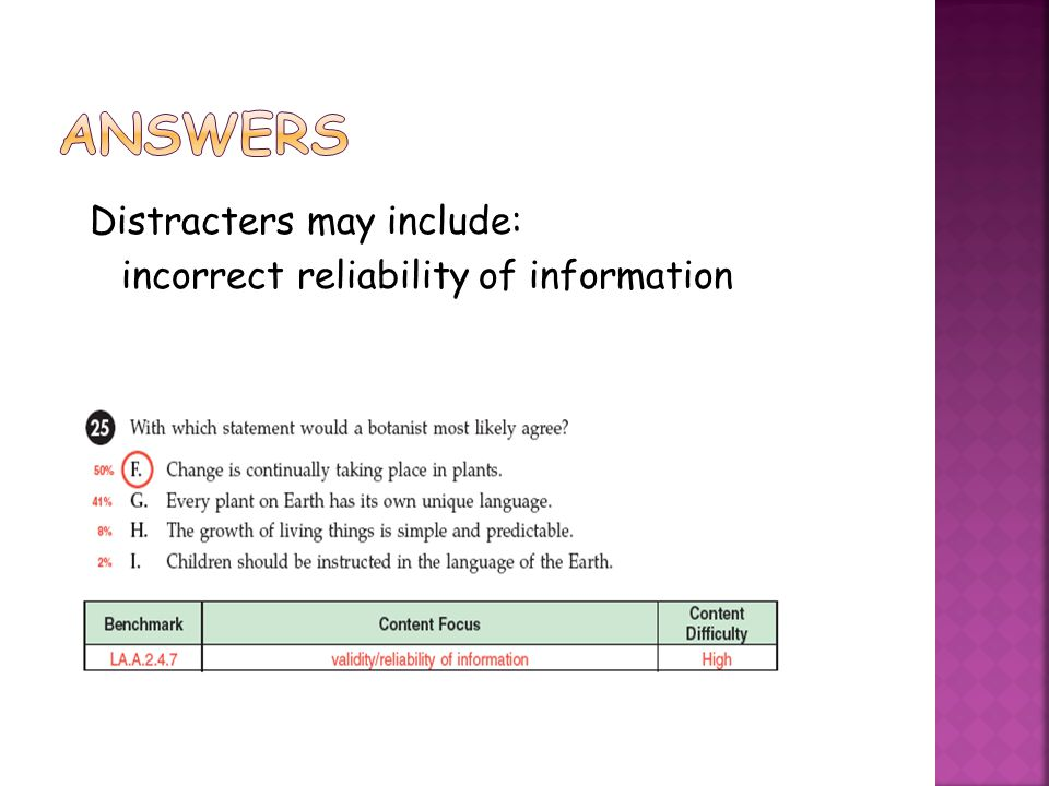 Answers Distracters may include: incorrect reliability of information
