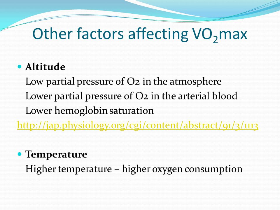 Other factors affecting VO2max