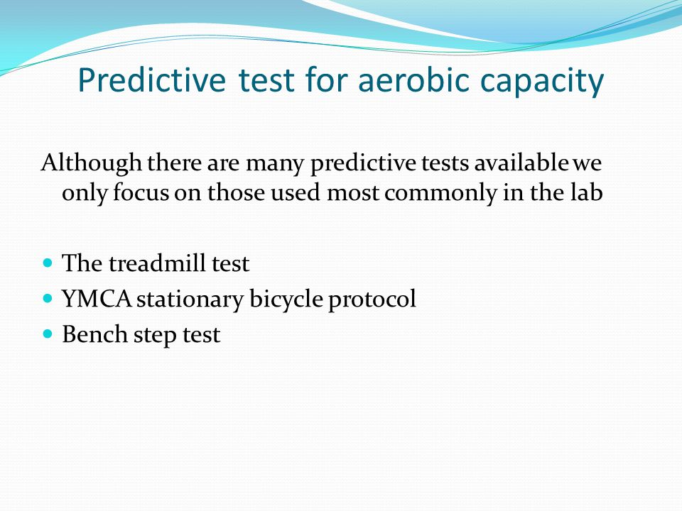 Predictive test for aerobic capacity