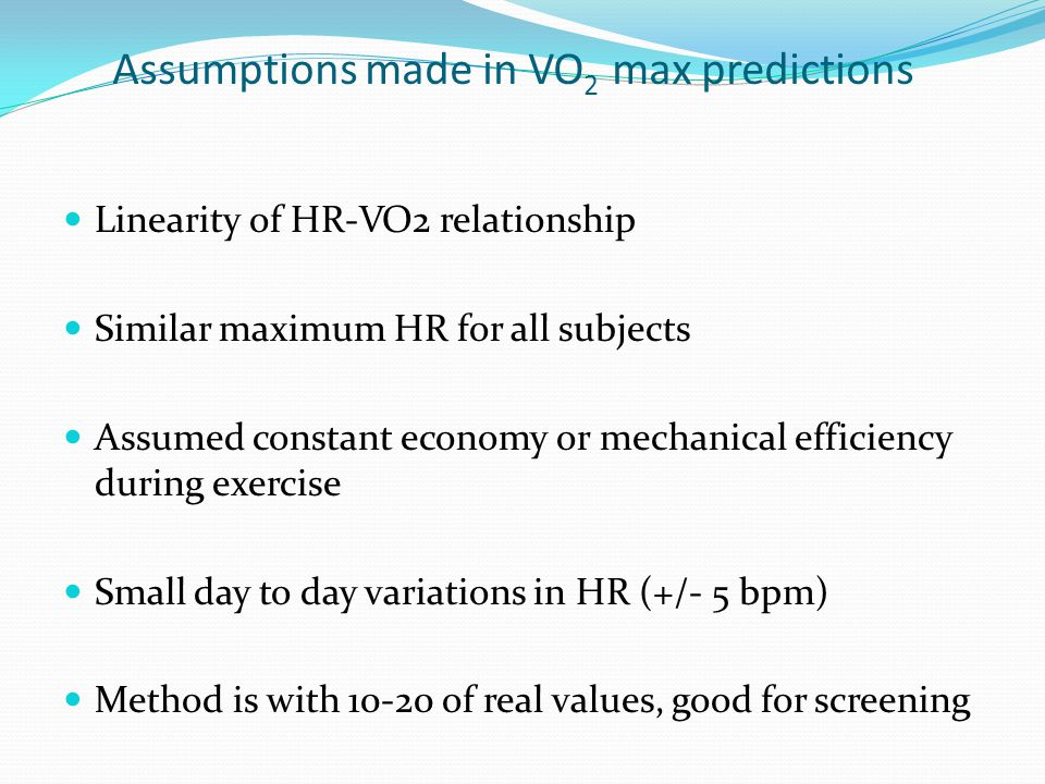 Assumptions made in VO2 max predictions