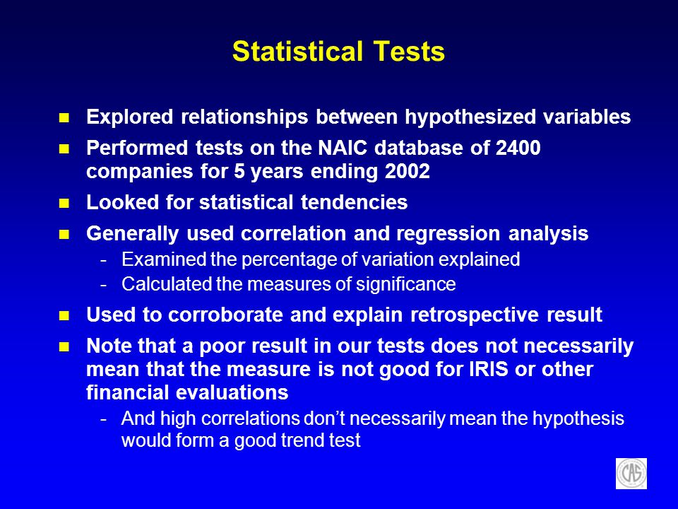 Statistical Tests Explored relationships between hypothesized variables.