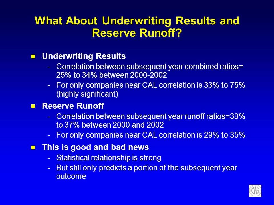 What About Underwriting Results and Reserve Runoff