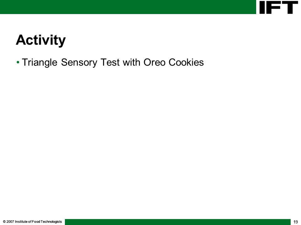 Activity Triangle Sensory Test with Oreo Cookies