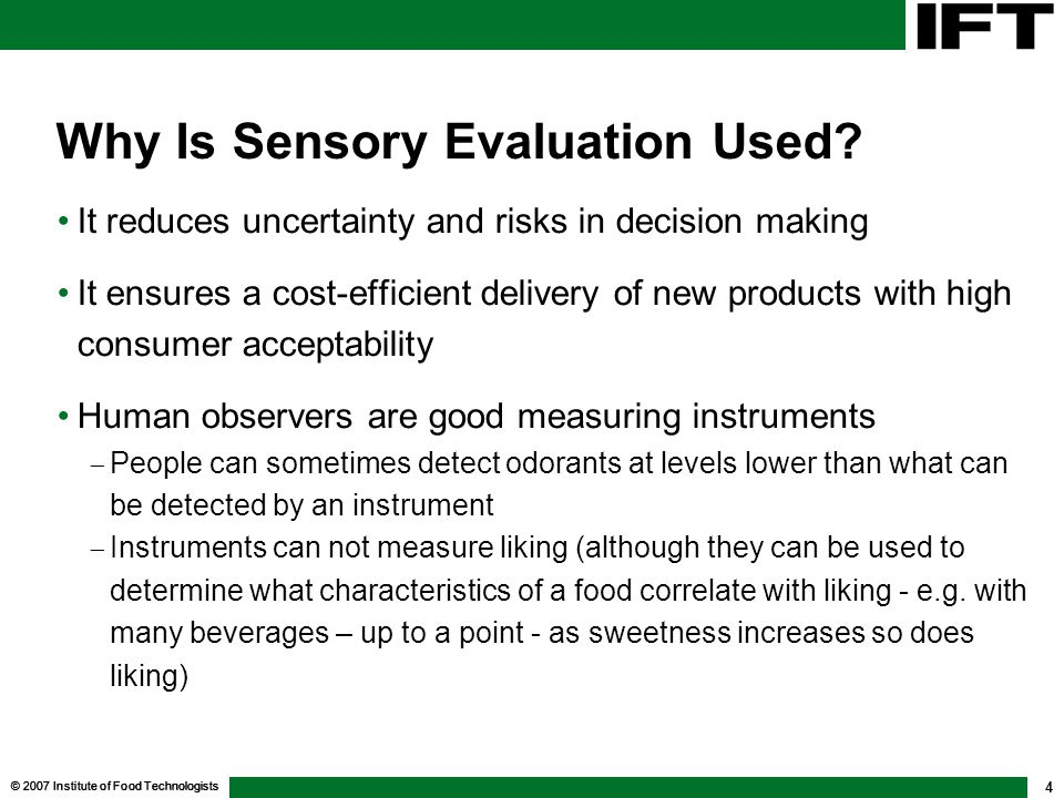 Why Is Sensory Evaluation Used