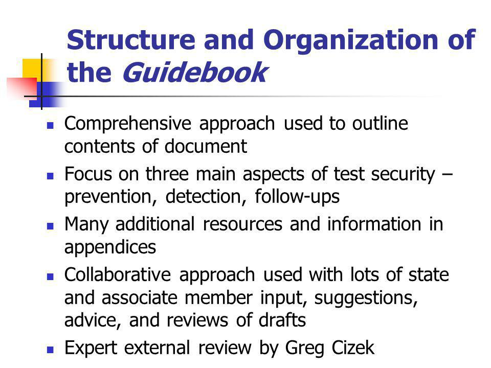 Structure and Organization of the Guidebook