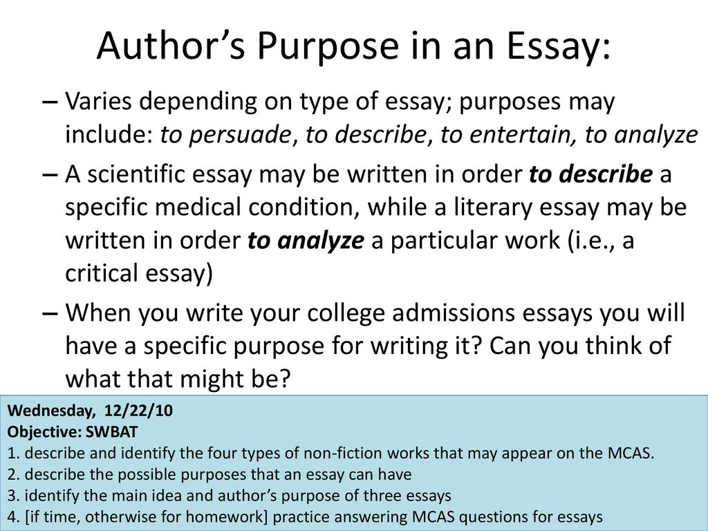 what is the purpose of an essay? apex