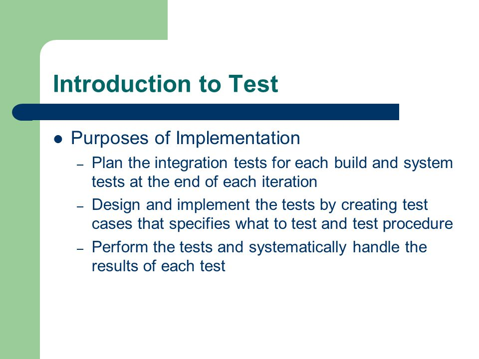 Introduction to Test Purposes of Implementation