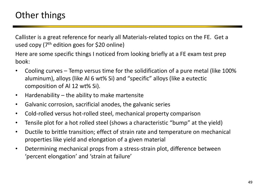 FE Exam Review - Materials - ppt download