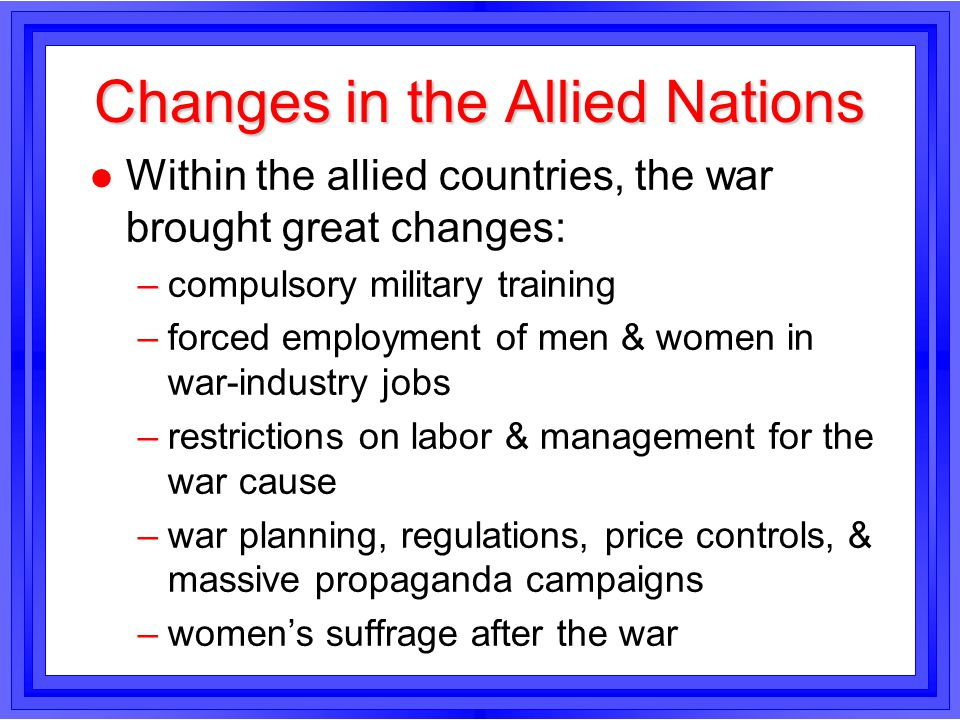 Changes in the Allied Nations