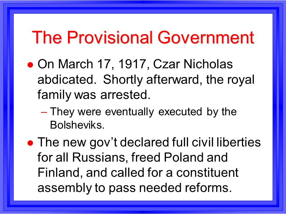 The Provisional Government