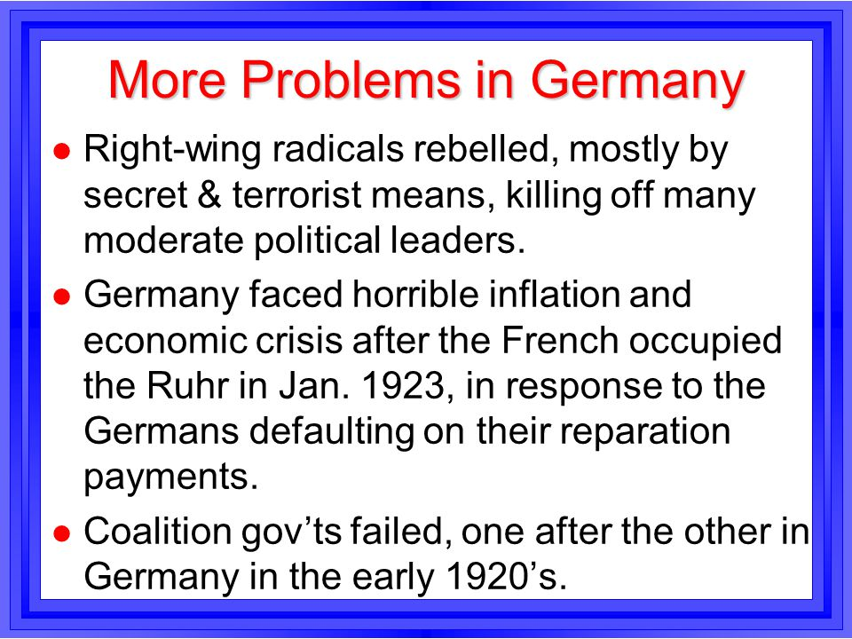 More Problems in Germany