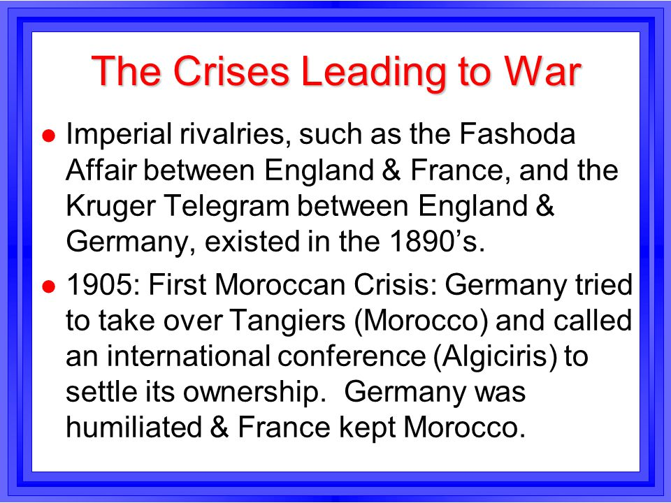 The Crises Leading to War