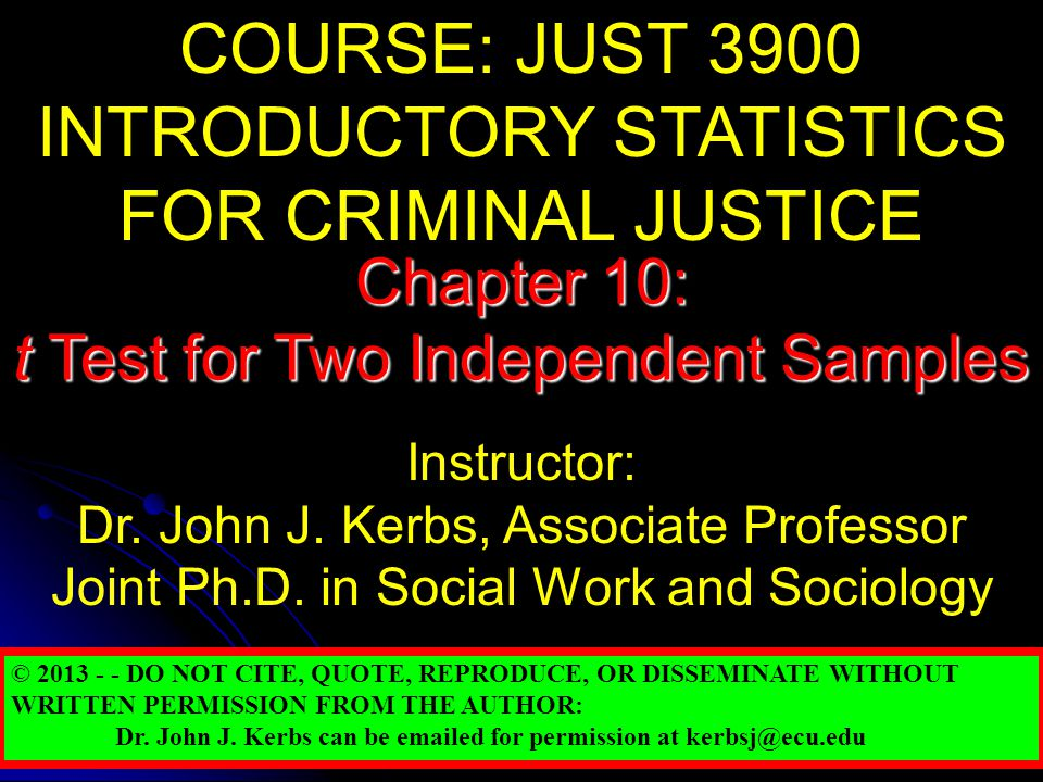 INTRODUCTORY STATISTICS FOR CRIMINAL JUSTICE