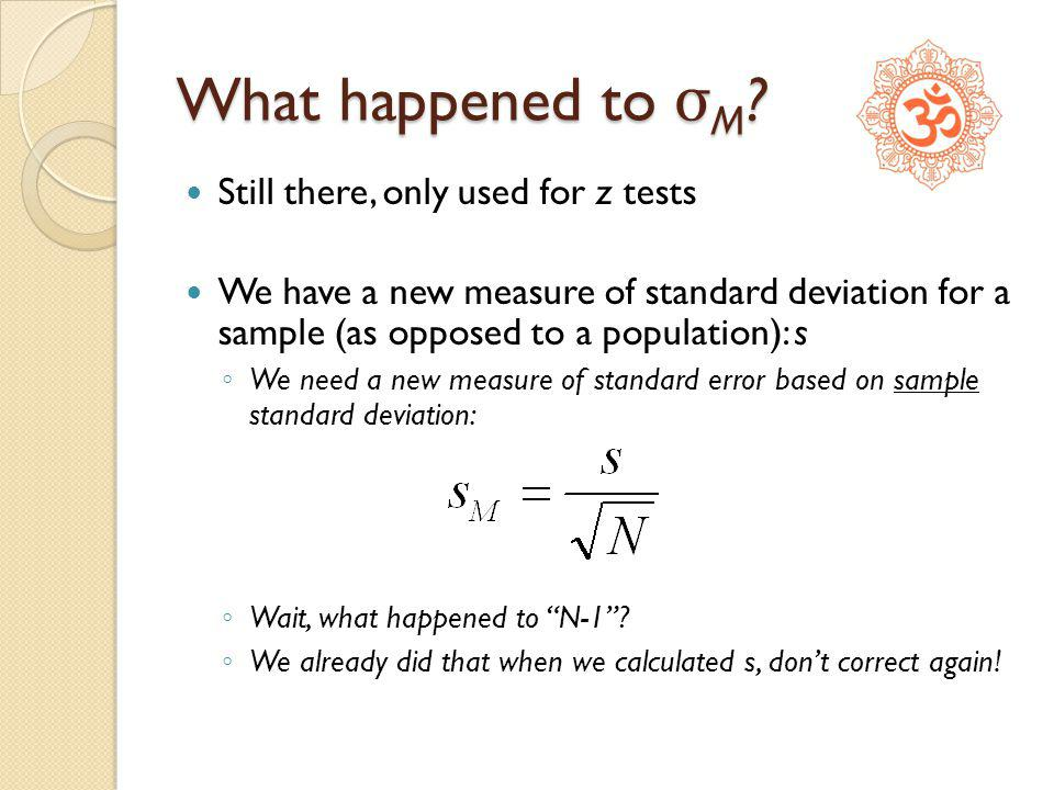 What happened to σM Still there, only used for z tests