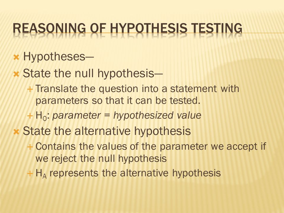 Reasoning of hypothesis testing