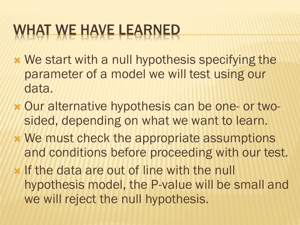 What we have learned We start with a null hypothesis specifying the parameter of a model we will test using our data.