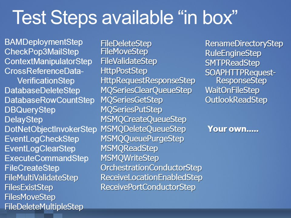 Test Steps available in box