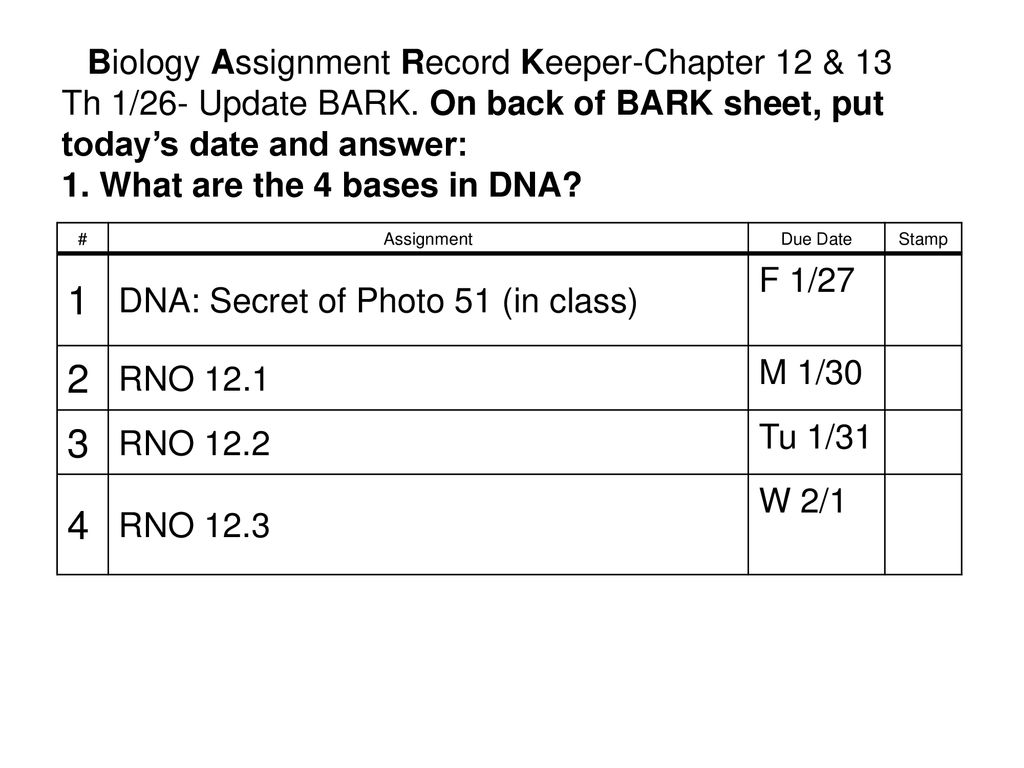 Biology Assignment Record Keeper-Chapter 12 & ppt download