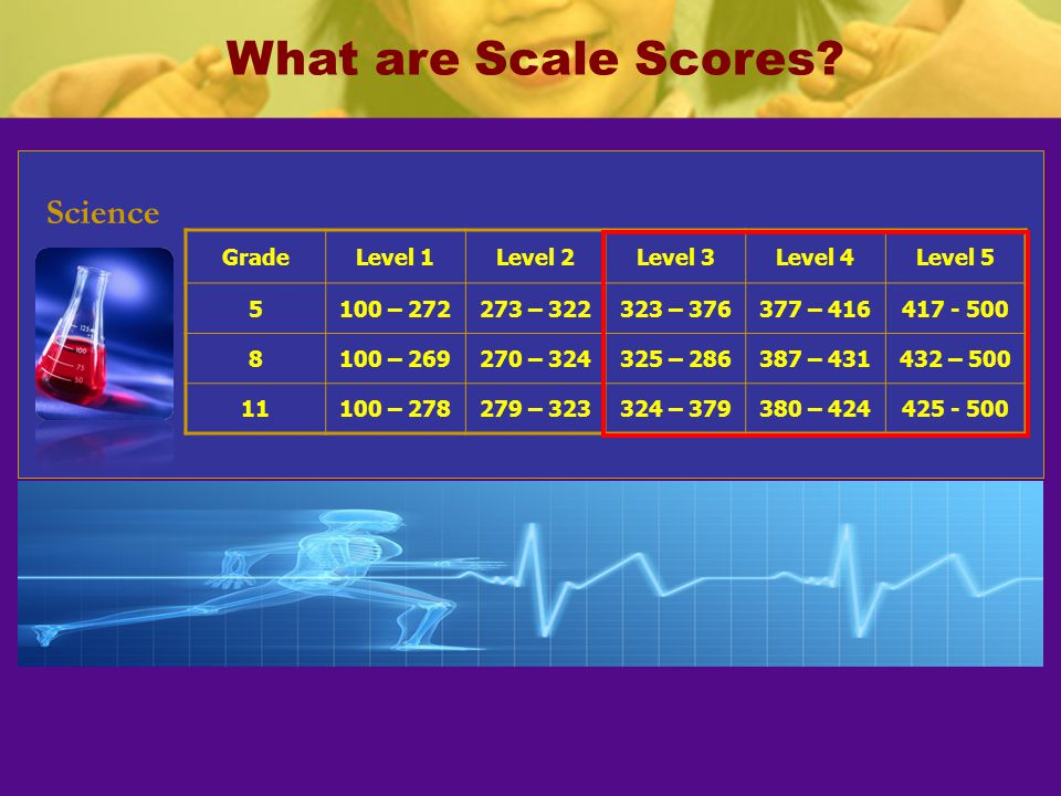 What are Scale Scores Science Grade Level 1 Level 2 Level 3 Level 4