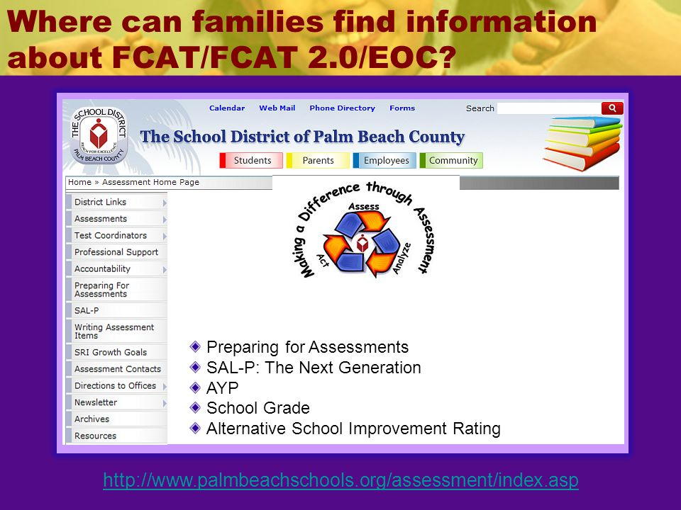 Where can families find information about FCAT/FCAT 2.0/EOC