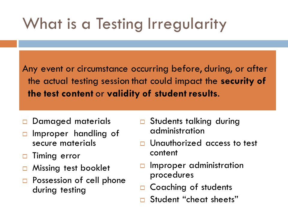 What is a Testing Irregularity