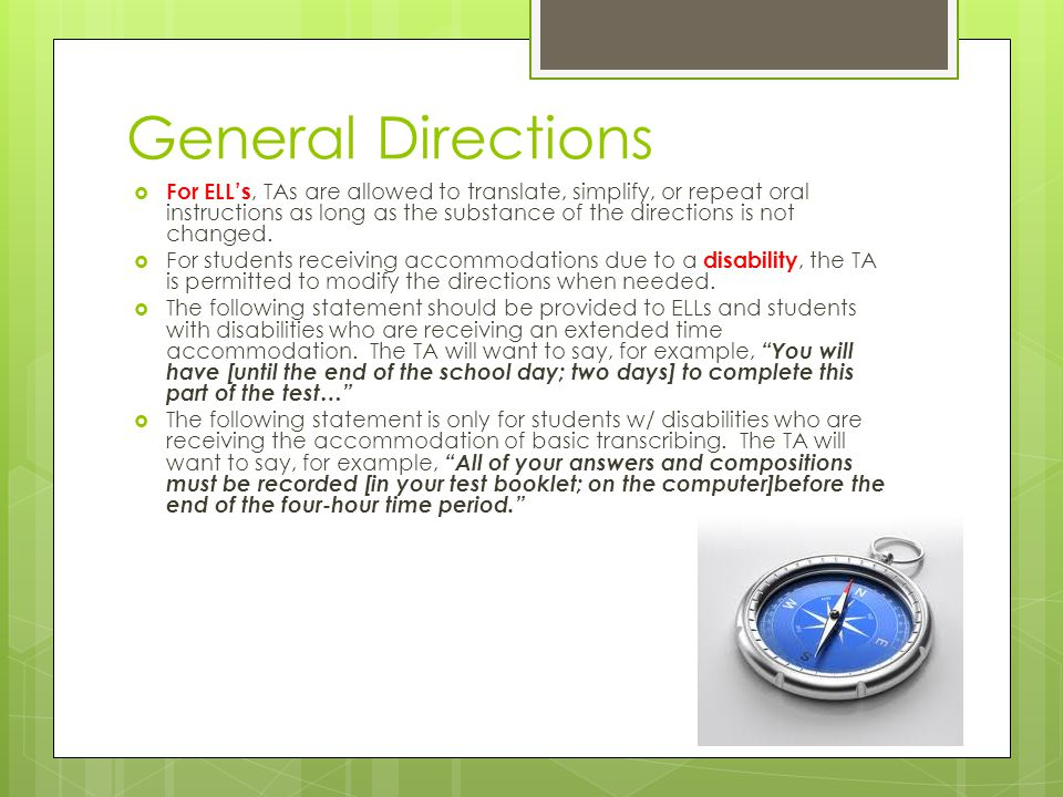General Directions