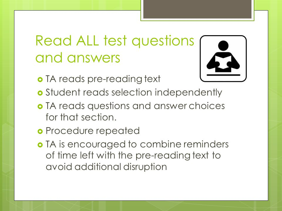 Read ALL test questions and answers