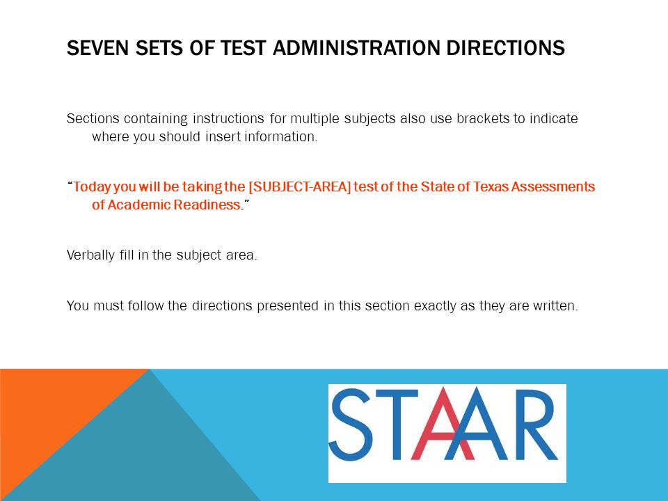 Seven sets of test administration directions