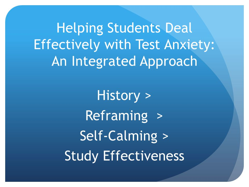 History > Reframing > Self-Calming > Study Effectiveness