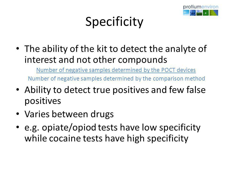 Specificity The ability of the kit to detect the analyte of interest and not other compounds.